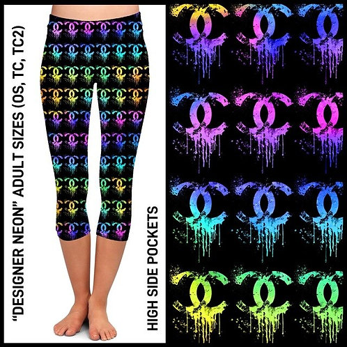 Designer  Neon  Capri Leggings