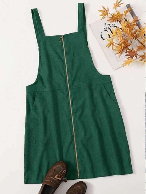 O-ring Zip Corduroy Overall Dress ~ X sizes ~ Color Options