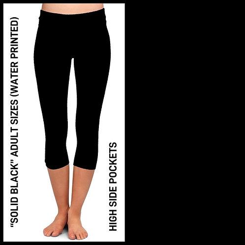 Solid Black Capri Leggings W/Pockets