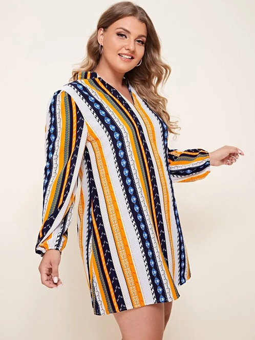 Notched Chevron And Striped Tunic Dress ~ All sizes ~ Color Options