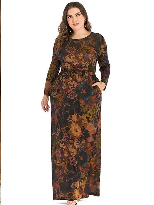 Dark Background Long Sleeve Maxi Dresses ~ X sizes ~ Multiple prints