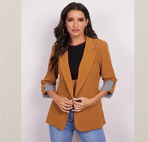 Notched Collar Roll Tab Sleeve Blazer ~ XS Thru XL ~ Multiple Color Options