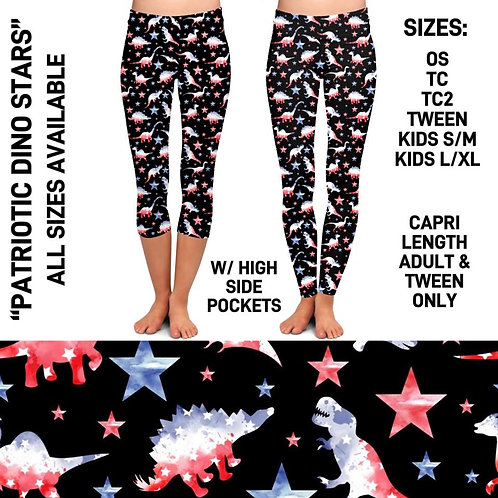 Patriotic Dino Stars Leggings