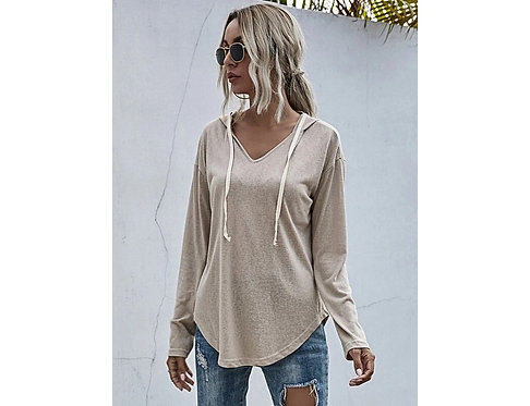 Curved Hem Drawstring Hooded Sweatshirt ~ S thru XL