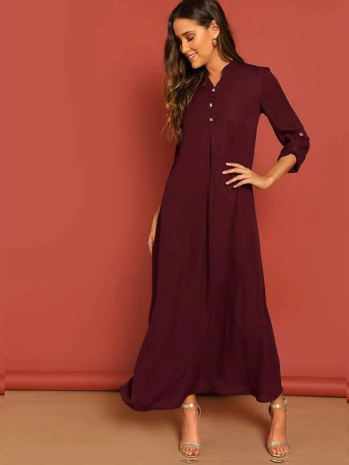 Roll Up Sleeve Buttoned Half Placket Maxi Dress ~M XS thru X ~ Color options
