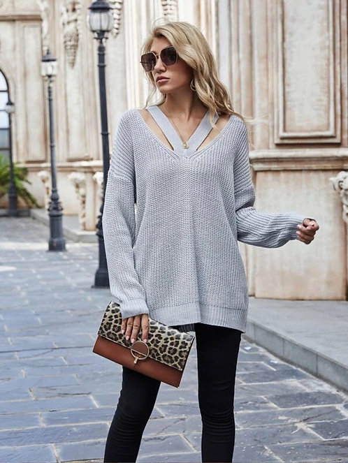 Drop Shoulder Cut Out Pointelle Knit Sweater ~ S thru XL