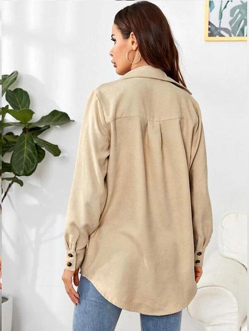 Single Breasted Flap Pocket Corduroy Coat ~ S thru 2XL ~ Multiple Color Options