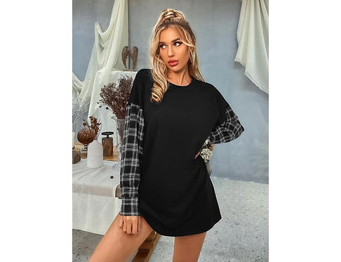 Contrast Plaid Sleeve Boyfriend Sweatshirt ~ S thru XL ~ Color options