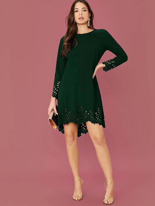 Scallop Trim Laser Cut Solid Dress ~ XS thru XL ~ Multiple Colors