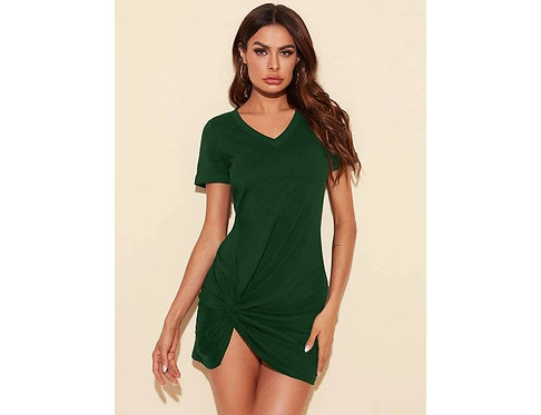 Cuffed Twist Hem Solid Dress ~ XS thru XL~ Multiple color options