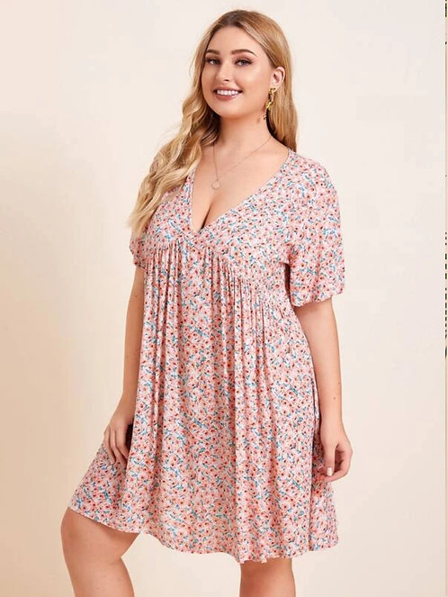 Ditsy Floral Plunging Neck Babydoll Dress ~ X sizes ~ Multiple Color Options