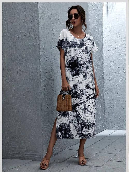 Batwing Sleeve Split Hem Tie Dye Dress ~ XS thru XL