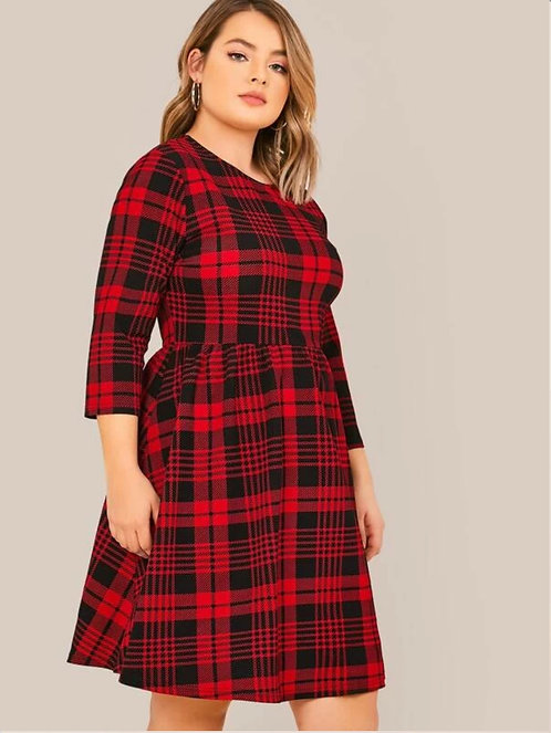 Round Neck Plaid Dress ~ X sizes ~ Two Color Options