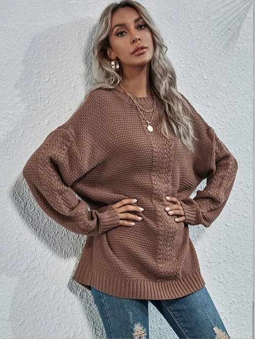 Drop Shoulder Longline Sweater ~ S.M.L ~ Multiple Color Options
