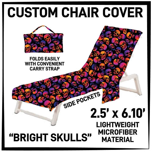 Bright Skulls Lounge Chair Cover