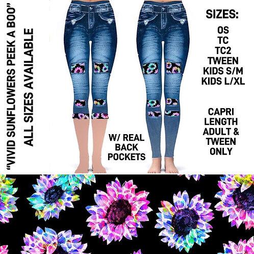 Vivid Sunflower Peek A Boo Jean Leggings  ~  Kids ONLY