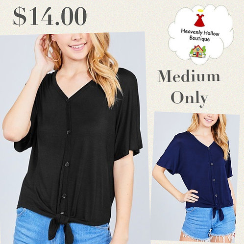 Short dolman sleeve v-neck w/button detail front tie rayon spandex