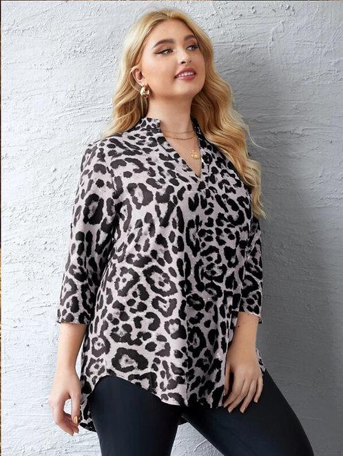 Leopard Print Notched Neck High Low Hem Blouse ~ Xsizes ~ Color Options