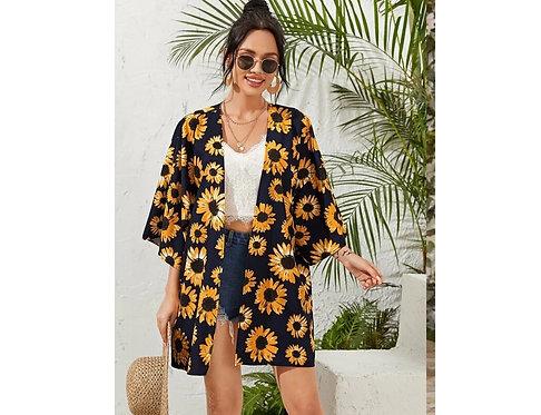 Drop Shoulder Sunflower Print Kimono ~ XS thru 4XL