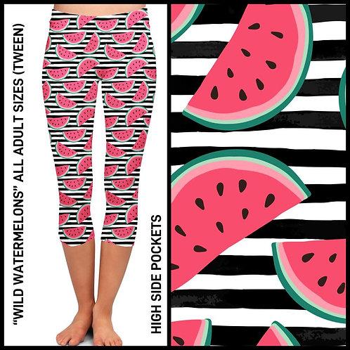 Wild Watermelon Capri Leggings