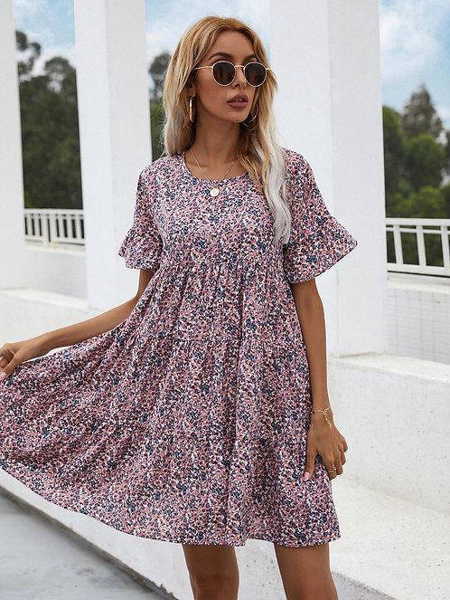 Allover Print Ruffle Smock Dress ~ S thru XL ~ Multiple Colors