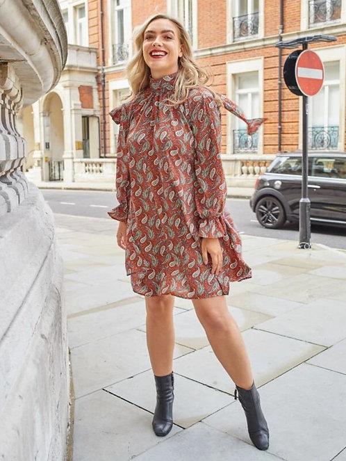 Paisley Mock Neck A Line Dress  ~ X sizes