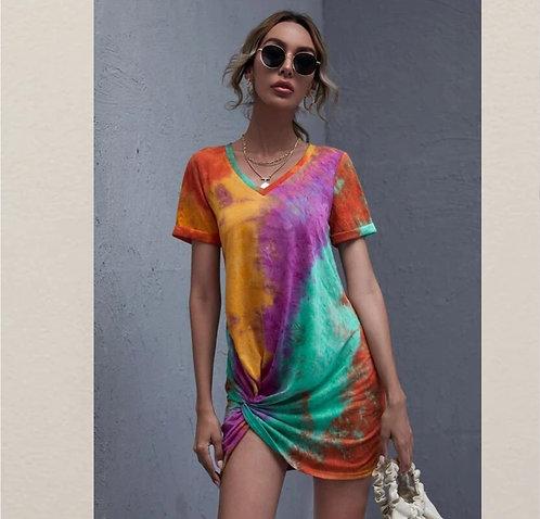 Cuffed Twist Tie Dry Dress ~ XS thru XL ~ Multiple color options
