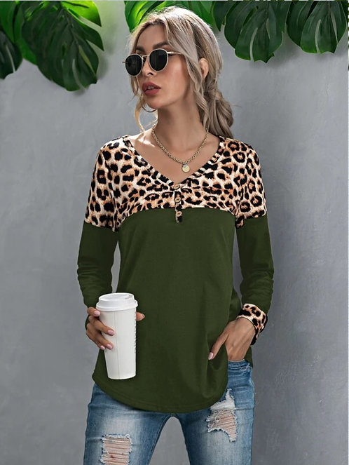 Button Front Contrast Leopard Tee ~ XS thru XL ~ Color Options