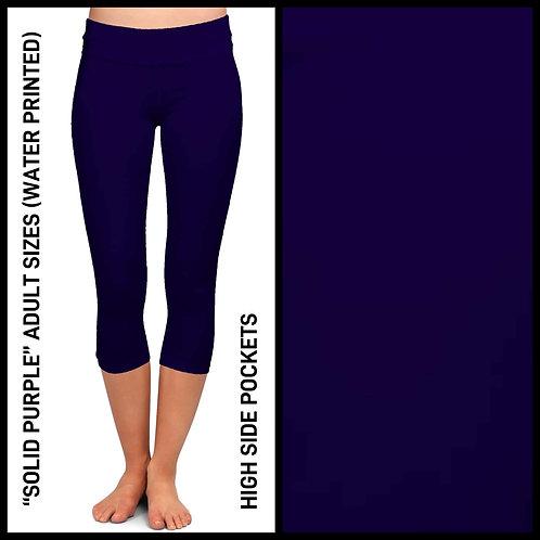 Solid Purple Capri Leggings W/Pockets