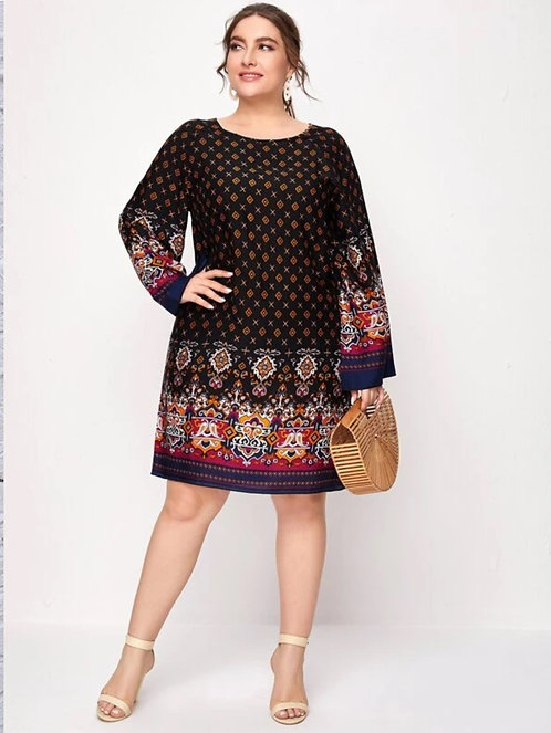 Geo Print Tunic Dress ~ X Sizes ~ Color  Options