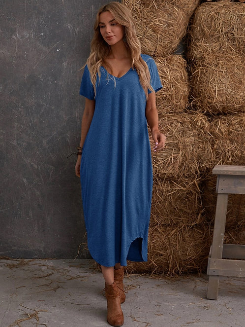 V-neck Slit Hem Maxi Dress ~ S thru XXL ~ Multiple Color Options