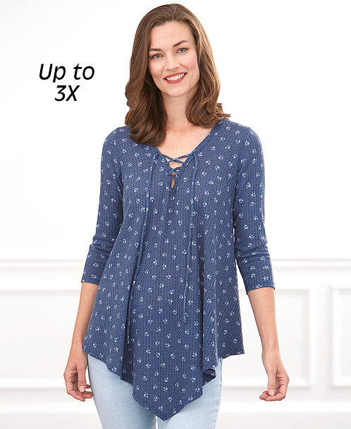 3/4-Sleeve Thermal Tunic with Lace-Up Neck ~ M thru 3XL ~ Multiple Prints