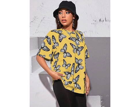 Drop Shoulder Butterfly Print Oversize Tee ~ XS thruL ~ Color options