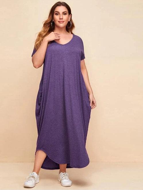 Heather Vneck Slant Pocket Cocoon Maxi Dress ~ X sizes ~ Multiple Color