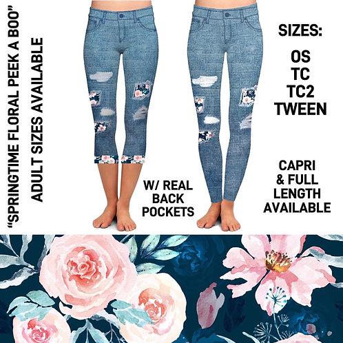 Springtime Floral Jeans Leggings