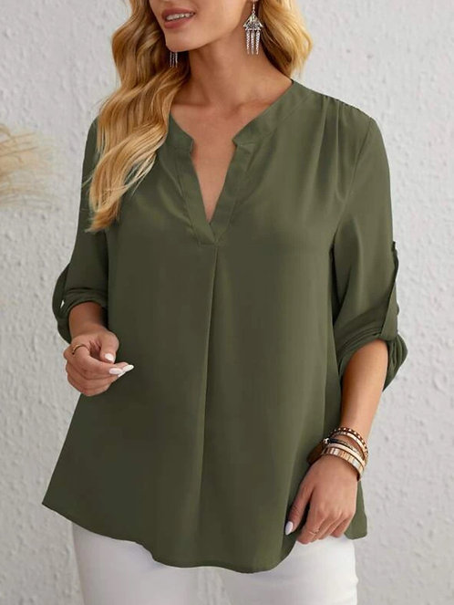 Notched Neck Rolled Tab Sleeve Top ~ S thru XXL ~ Multiple Color Options