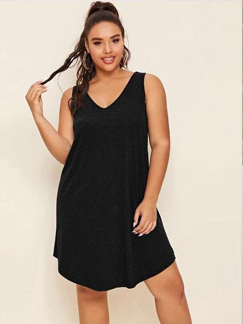 V-neck Curved Hem Solid Dress ~ X sizes ~ Multiple color options