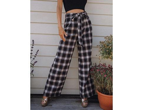 Self Belted Wide Leg Plaid Pants ~ XS thru L