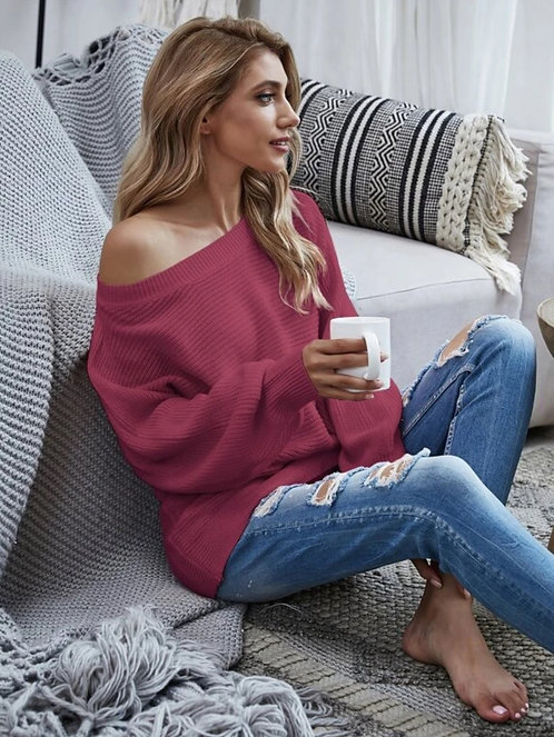 Solid Batwing Sleeve Boat Neck Sweater ~ S.M.L ~ Multiple Color Options