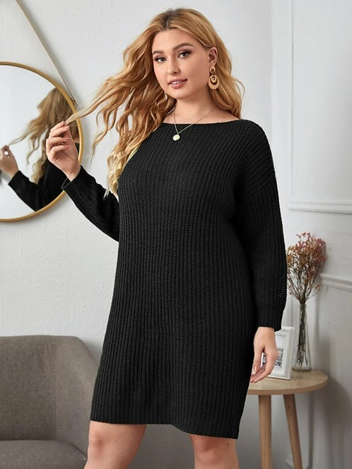 Drop Shoulder Sweater Dress Without Belted ~ X sizes ~ Color Options