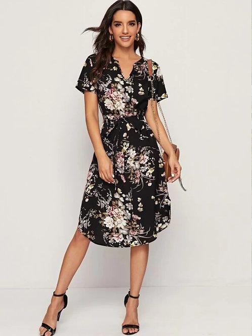 Notch Neck Curved Hem Belted Floral Dress  ~ XS thru XL ~ Color Options