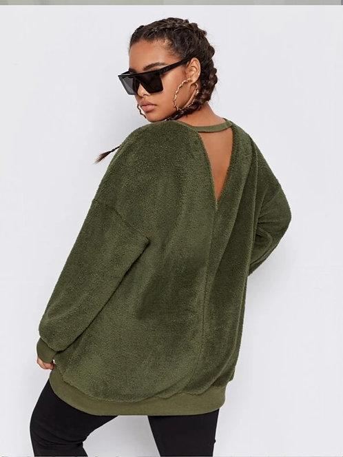 V-cut Back Drop Shoulder Teddy Sweatshirt ~ XL thru 4XL ~ Color Options
