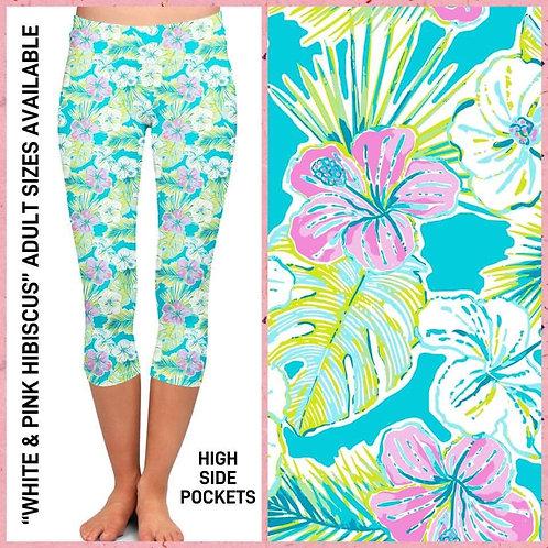 White and Pink Hibiscus Capri Leggings
