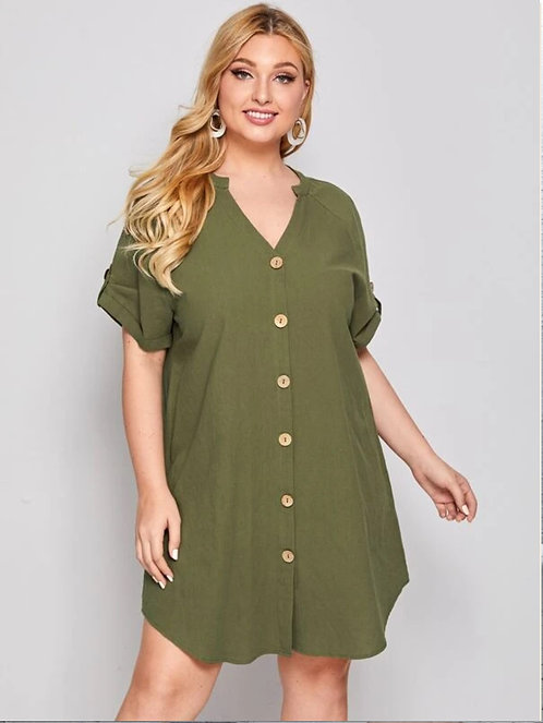 Notched Neck Button Front Rolled Tab Sleeve ~ X sizes ~ Multiple Color Options