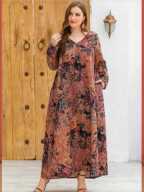 Floral Print Tunic Dress  ~ X sizes