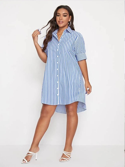 Collared Buttoned Front Striped Dress  ~ X sizes