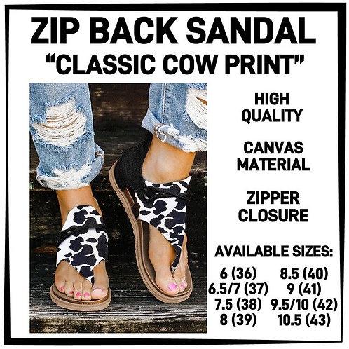Zip Back Classic Cow Sandal