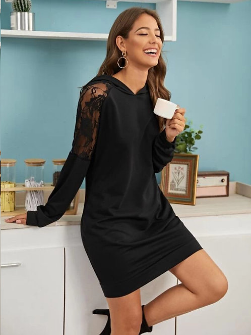 Contrast Lace Hooded Sweatshirt  Dress ~ S thru 4XL