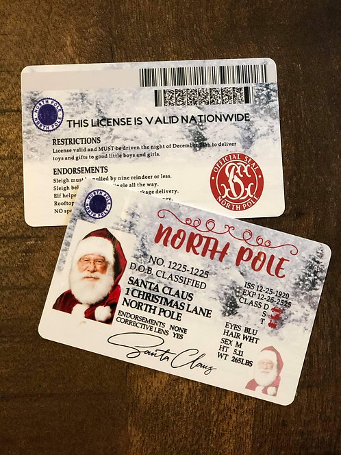 Christmas ~ Santa License ~ One double sided card