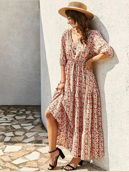 Ditsy Floral Drawstring Waist Ruffle Hem Dress ~ S thru 4XL